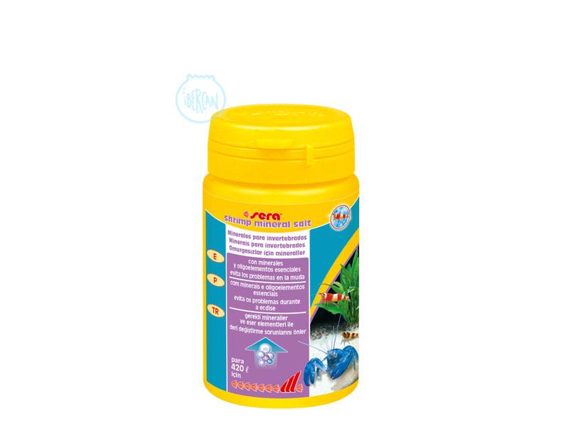 Sera Shrimp Mineral Salt contiene minerales y oligoelementos para invertebrados