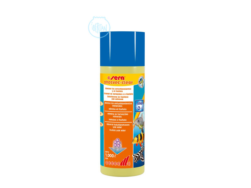 Sera Phosvec Clear es un producto capaz de eliminar los enturbiamientos minerales y el fosfato