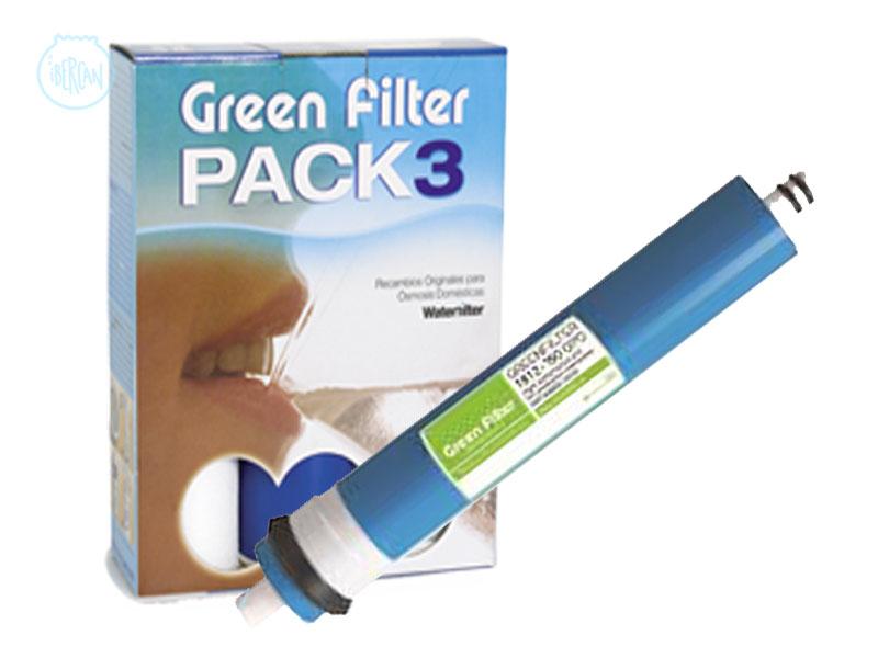 Pack de ahorro filtros de ósmosis contiene tres prefiltros y  membrana