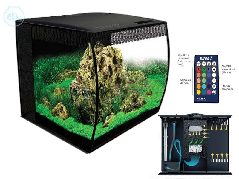 Nueva serie de acuarios nano Fluval Flex con cristal frontal cóncavo.