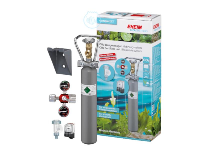 El Set CO2 Eheim 400 está diseñado para acuarios de hasta 400 litros.