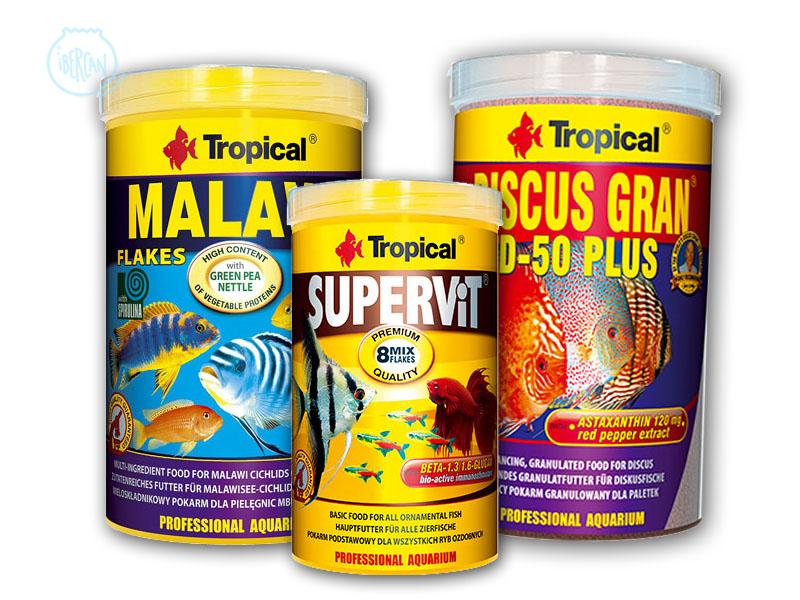 alimentos y comida para peces tropical ibercan